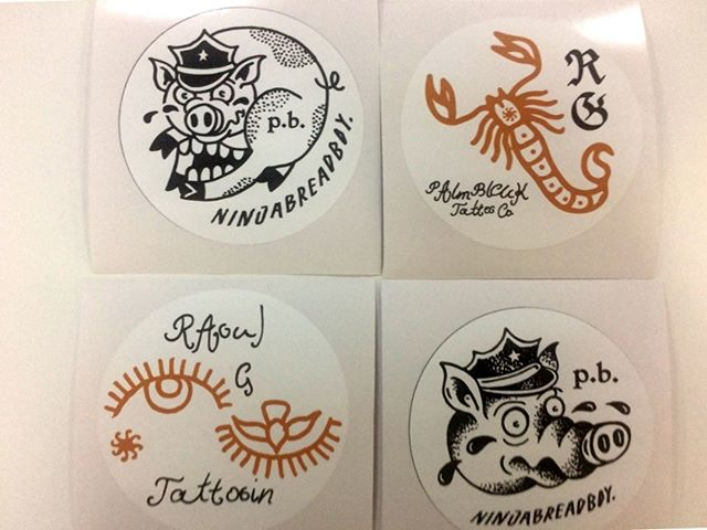 Need vinyl stickers for your business' promotions? Here are some vinyl stickers we printed for Raoul G Tattoo Co! We can print full-colour self-adhesive vinyl stickers to virtually any size, shape or quantity!