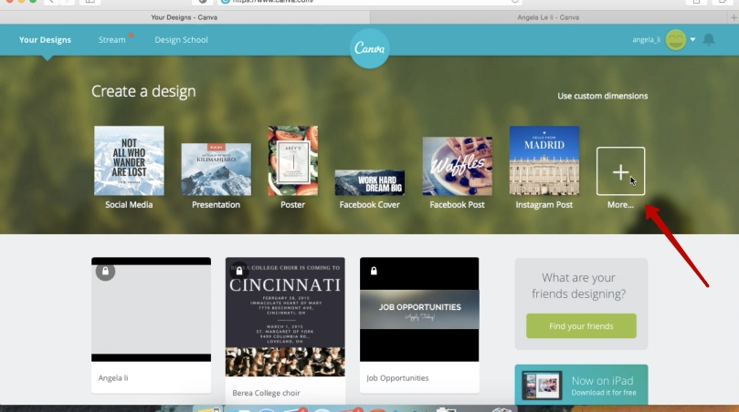 Select more on Canva