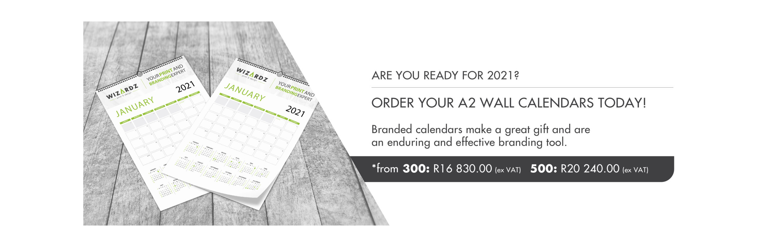 Wall Calendar Promotions Website Banner
